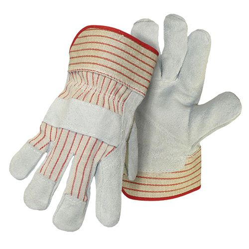 Leather and Canvas Work Gloves, Leather Palm, 1 Pair