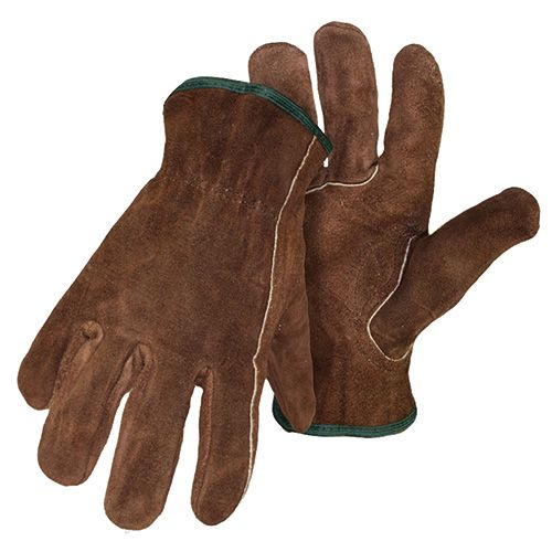 Large Unlined Brown Split Leather Gloves