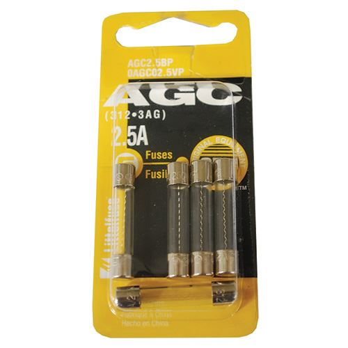 AGC Fuses, 2.5A, 5 Pack