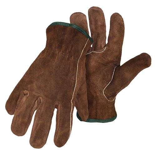Medium Unlined Brown Split Leather Gloves