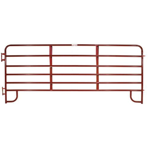 16 - 6 Bar Red Tube Corral Panel, 1-3/4 Round x 19 Gauge