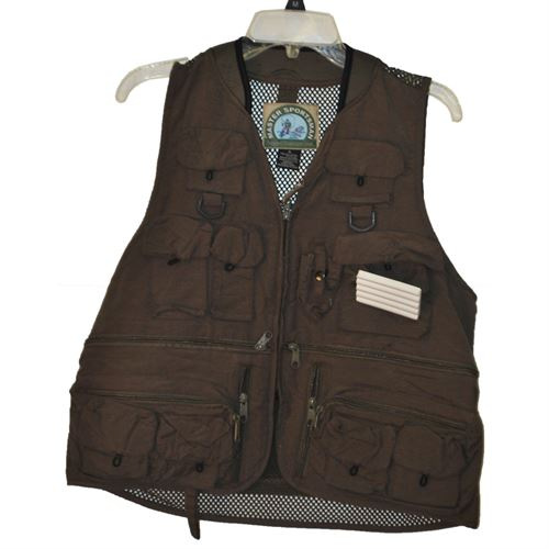 Mens Fishing Vest with Mesh Back, Olive Green, Medium