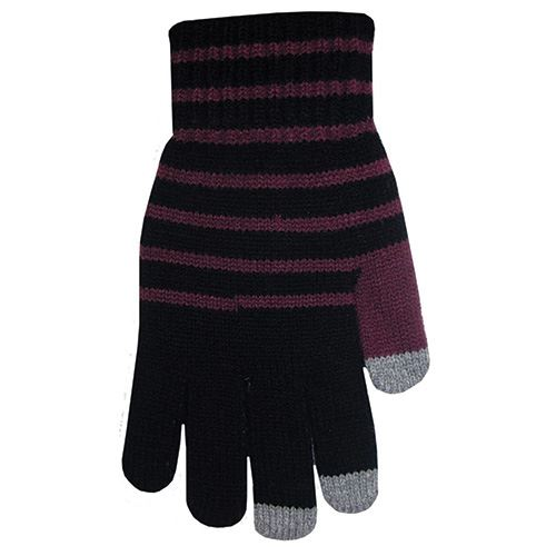Tech Knit Gloves - Purple & Black w/ Gray Tips