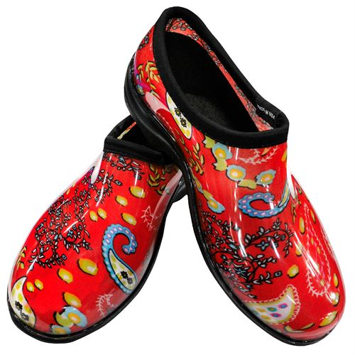 Sloggers Paisley Red Rain and Garden Shoe, Size 7