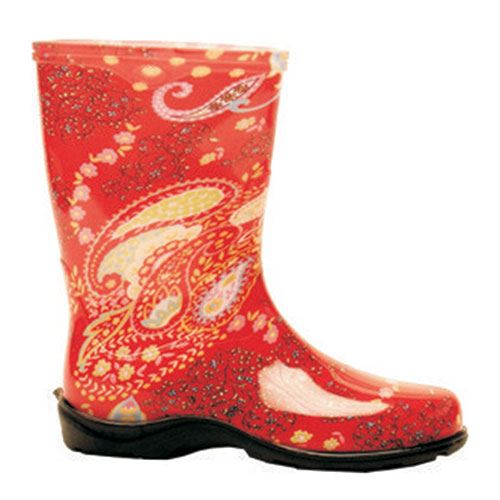 Sloggers Ladies Rain Boot, Paisly Red, Size 7