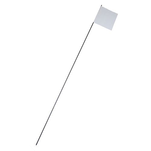 White Marking Flags, 21 In. Stake, 4 In. x 4 In., 100 Pk.