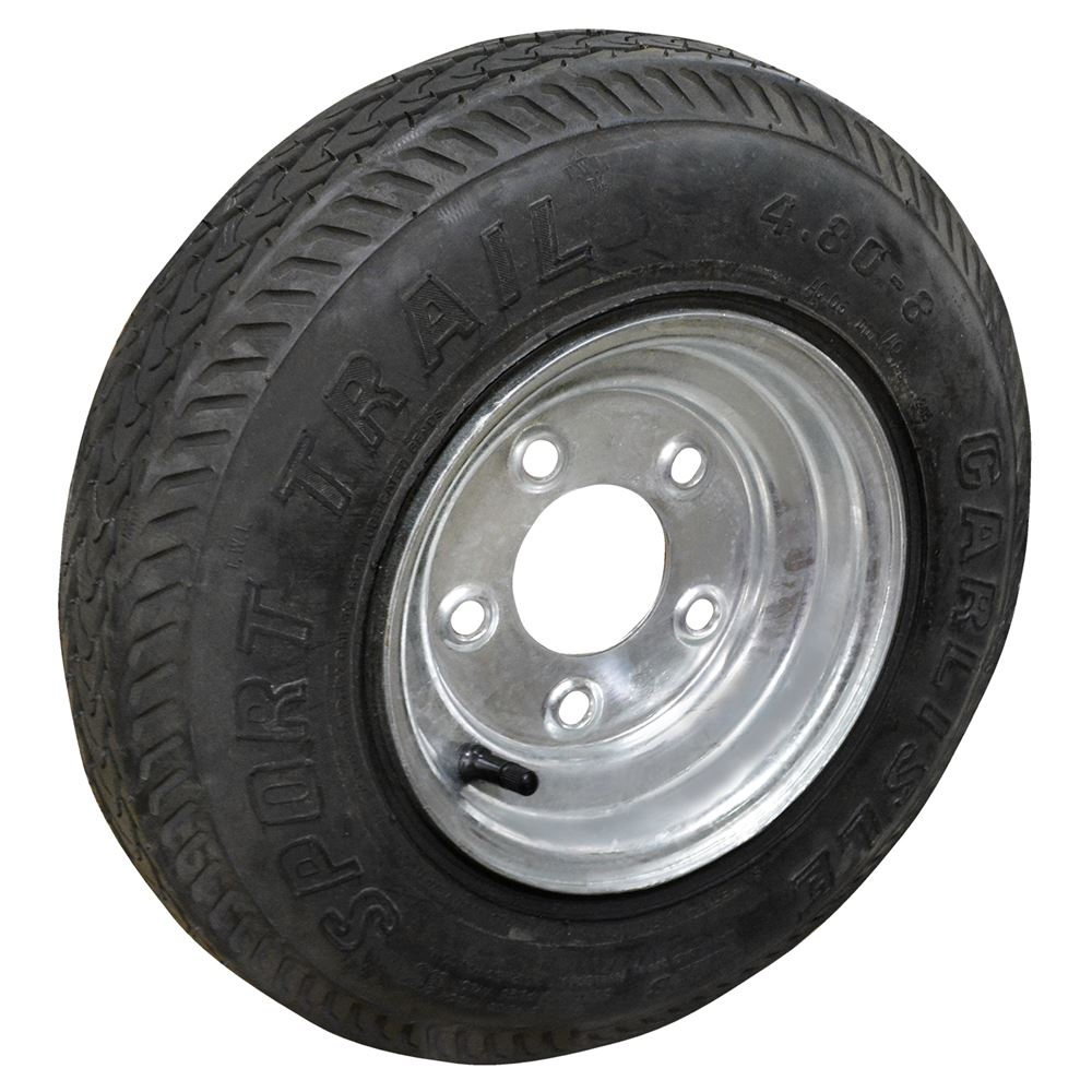 Trailer Tire and Wheel, 4.80 - 8, LRB, 5 on 4-1/2 In.