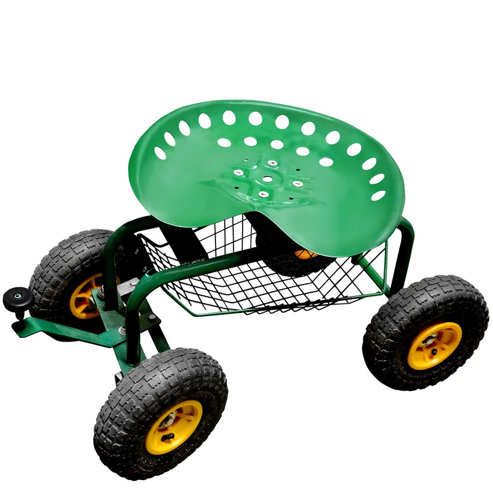Rolling Garden Seat With Wheels And Turnbar Garden Scooter